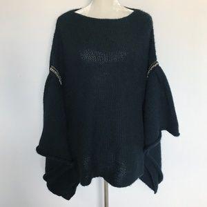 Zara Knit Black Poncho Shawl Thick Warm Wool Med